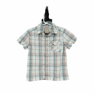 Toddler 3T plaid button down collared tee white